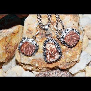 Snakeskin Jasper Pendant & Earrings
